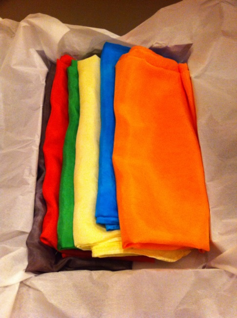 Large pieces of silk dyed in bright colors